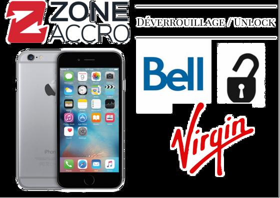 UNLOCK - DÉVERROUILLAGE pour iPhone Bell/Virgin - Prix du demande